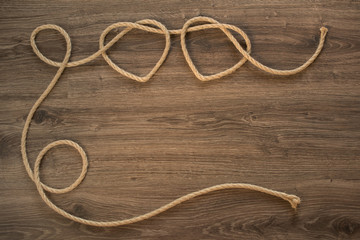 Rope knots heart shapes