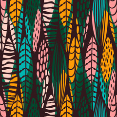 Tribal seamless pattern with abstract leaves. Hand draw texture.