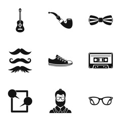 Hipsters icons set, simple style