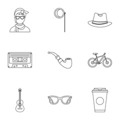 Hipster culture icons set, outline style