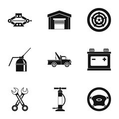 Repair machine icons set, simple style