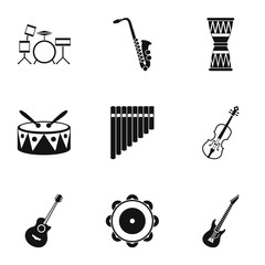 Musical instruments icons set, simple style