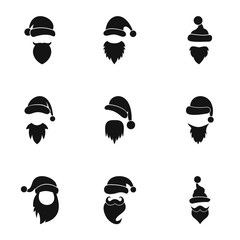 Wizard Santa Claus icons set, simple style