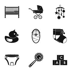 Baby supplies icons set, simple style