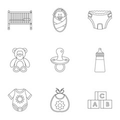 Baby icons set, outline style