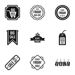 Large discounts icons set, simple style