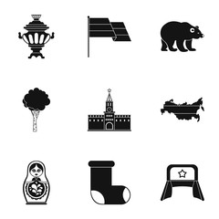 Country Russia icons set, simple style