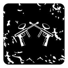 Two paintball gun icon, grunge style