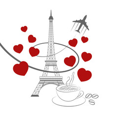 eiffel tower coffee and hearts