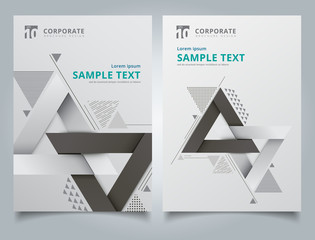 Brochure geometric composition forms modern background with decorative triangles 3d and patterns  composition layout design template