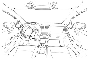 Interior of electromobile with automatic gearbox