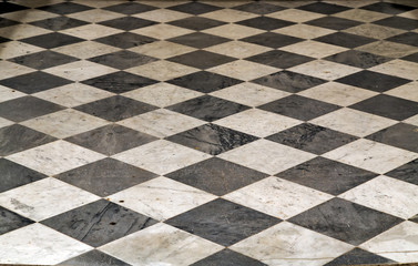 Black and white checkered Perspective view floor grunge tiles marble surface decorative stone interior