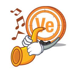 With trumpet Veritaseum coin mascot cartoon