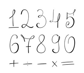 Vector Hand drawn numbers on white background