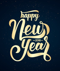 Golden Hand drawn elegant modern brush lettering of Happy New Year 2018 on dark background.