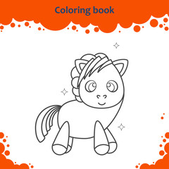 Coloring book page for kids. Color the cartoon little pony.