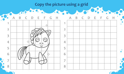 Copy the picture using a grid. Educational game for children. How to draw cute cartoon pony