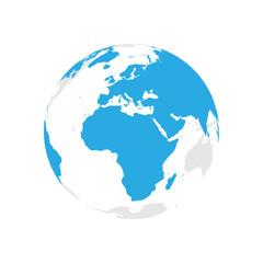Earth globe with blue world map. Focused on Africa and Europe. Flat vector illustration.