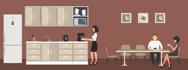 Dining room in the office. Office workers drink coffee at the table. Coffee break. Office kitchen. There are kitchen cabinets, a fridge, a microwave, a kettle and a coffee machine in the image. Vector