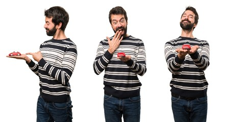 Set of Surprised Man with beard holding a little car