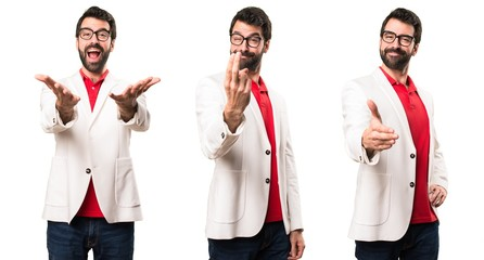 Set of Brunette man with glasses doing coming gesture