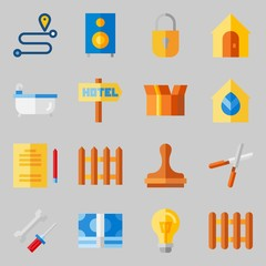 Icons set about Real Assets. with paper work, mechanics and turned off