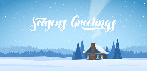 Winter christmas landscape with cartoon house and handwritten lettering of Season's Greetings.