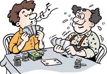 Cartoon Vector illustration of two Men playing Poker