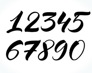 Brush lettering numbers. Modern calligraphy, handwritten letters. Vector illustration