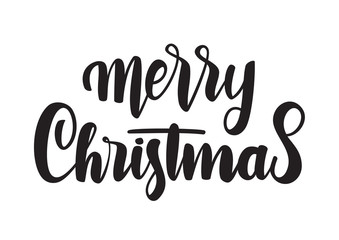Hand drawn modern brush type lettering of Merry Christmas isolated on white background.