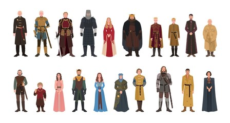 Bundle of Game of Thrones novel and TV series male and female fictional characters. Set of men and women dressed in fantasy clothes isolated on white background. Colorful flat vector illustration.