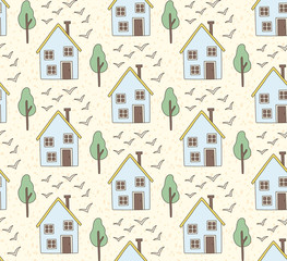 Village houses seamless vector pattern