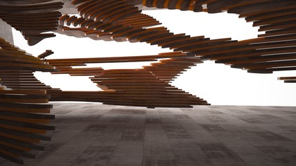 Abstract brown concrete interior  with orange glossy lines. 3D illustration and rendering.
