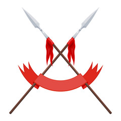 Two spears, a flag and a red ribbon on a white background. Vector illustration of a heraldic sign - crossed spears and ribbon. Cartoon illustration