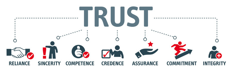 trust building concept. Banner with keywords and vector illustration icons