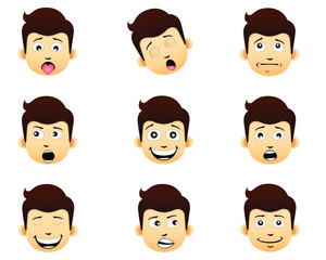 Set of facial expressions with emotion.