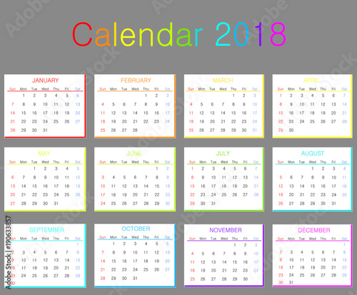 colorful 2018 calendar vector illustration full calendar of 2018
