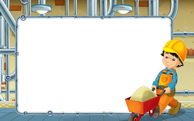 cartoon scene with builder working in the basement - with frame - space for text - illustration for children