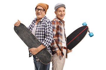 Elderly hipsters with a skateboard and a longboard
