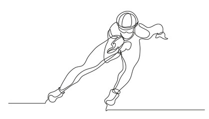 Continuous line drawing. Illustration shows a sportsman running on skates. Short track. Winter sport. Vector illustration