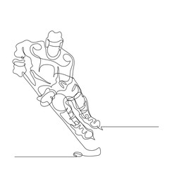 Continuous line drawing. Illustration shows a hockey player in attack. Ice Hockey. Vector illustration