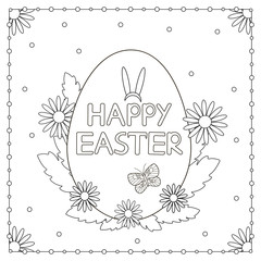 Happy Easter card. Coloring page