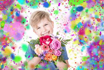 junge mit Blumenstrauß