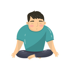 Young man doing yoga in lotus position, peaceful man meditating cartoon vector Illustration