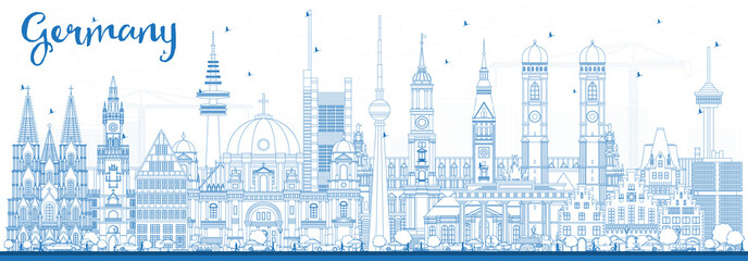 Outline Germany City Skyline with Blue Buildings.