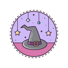 Witch's hat. Vector illustration.