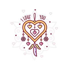 I love you. Dreamcatcher. Vector illustration.