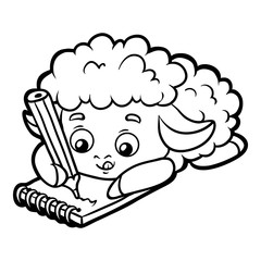 Coloring book, Sheep writer with a pencil and a notebook