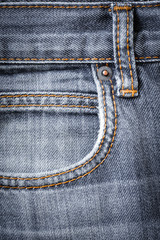 Jeans Fabric With Pocket And Seams For Design.