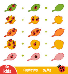 Counting Game for Children. Count the number of beetles on leaves and write the result
